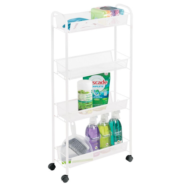 Slim Metal Multi-Tier Rolling Laundry Cart Utility Shelf