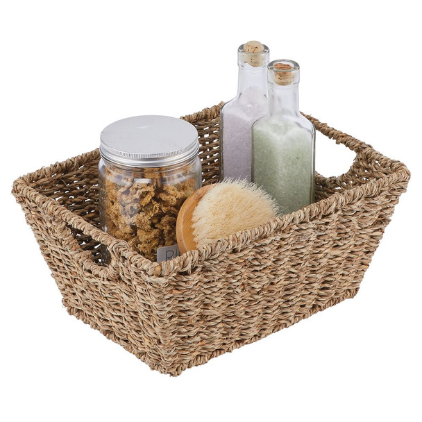 Natural Woven Storage Cube Basket With Handles