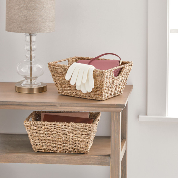 "Natural Woven Storage Cube Basket With Handles - 9"" x 12"" x 6"""