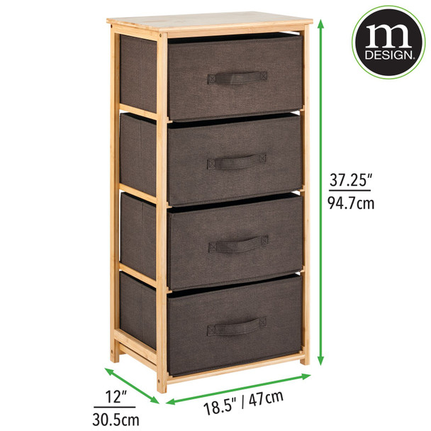 Bamboo Dresser Table Organizer Unit, 4-Drawer