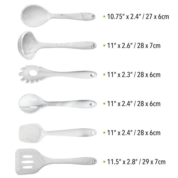 Kitchen Utensil Set in Marble Pattern - Set of 6