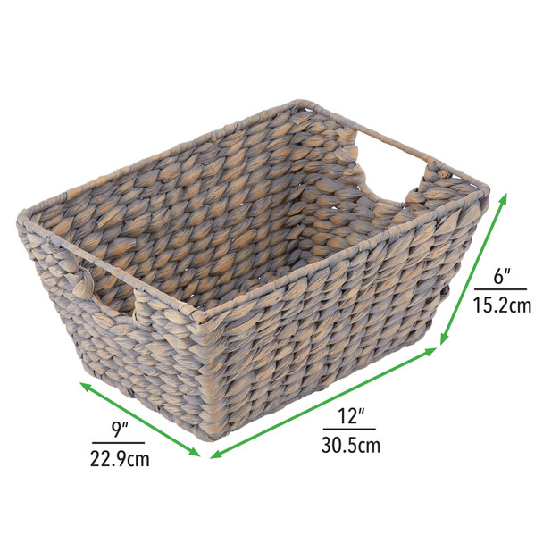 "Natural Woven Hyacinth Storage Cube Basket Bins - 12"" x 9"" x 6"""