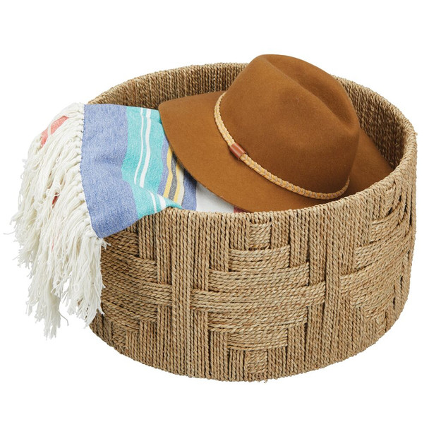 Natural Woven Seagrass Storage Basket - Round