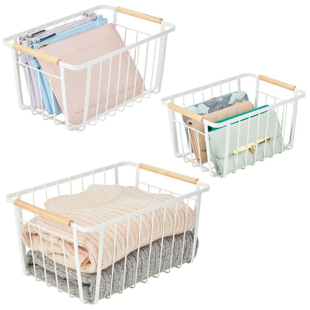 Metal Bathroom Storage Basket with Wood Handles