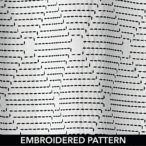 """Striped Embroidered Cotton Fabric Shower Curtain, 72"""" x 72"""""""