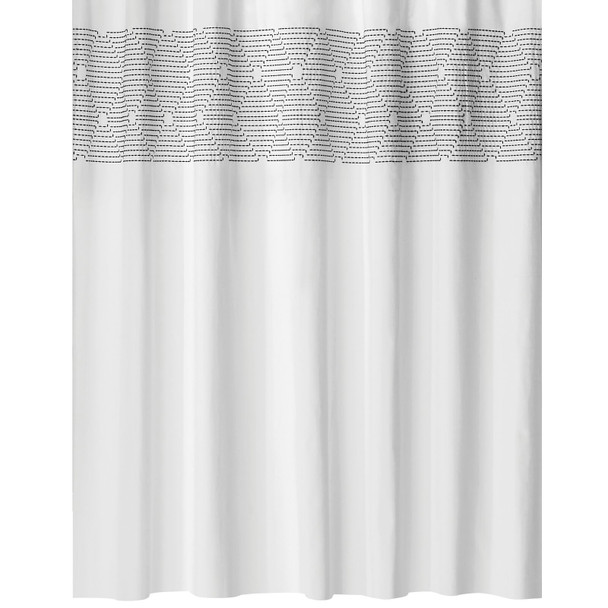 "Striped Embroidered Cotton Shower Curtain, 72"" x 72"""