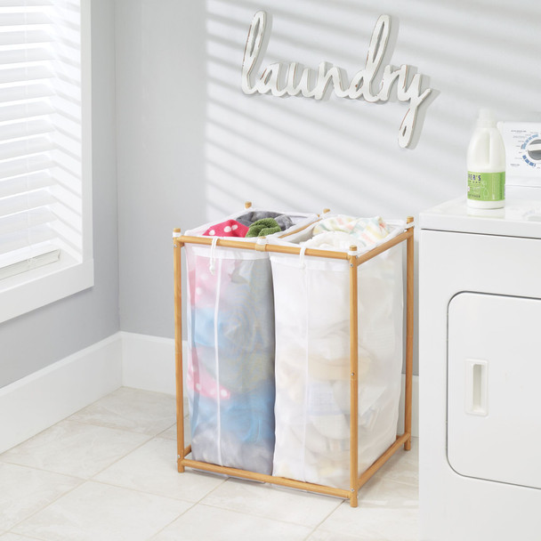 2 Section Laundry Hamper Sorter with Removable Bags
