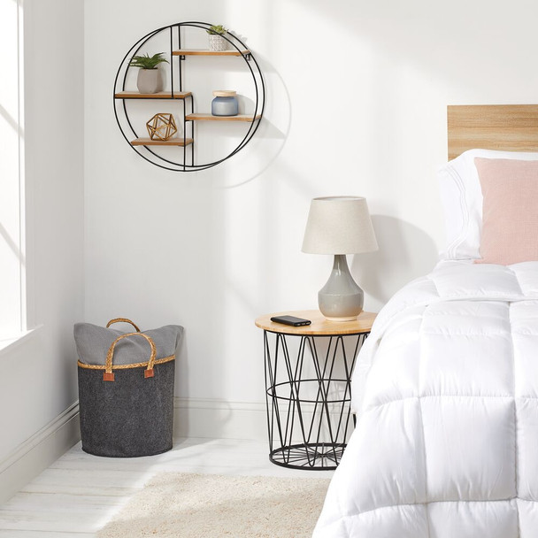 Modern Farmhouse End Table with Wood Top