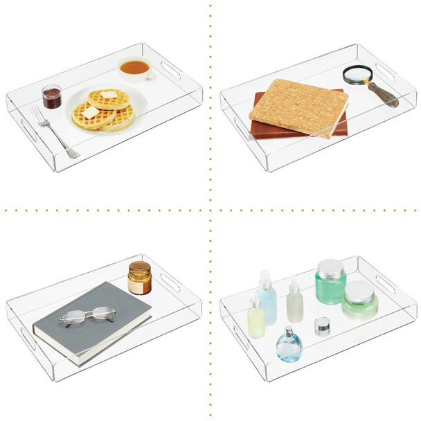 Clear Acrylic Rectangular Serving Tray With Slotted Handles, Pack of 2
