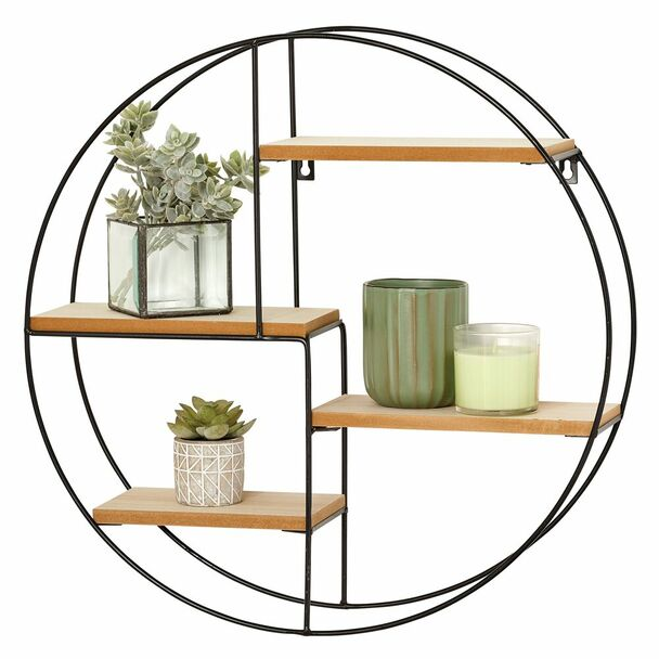 4 Shelf Round Metal and Wood Wall Mount Storage Organizer - Black Natural