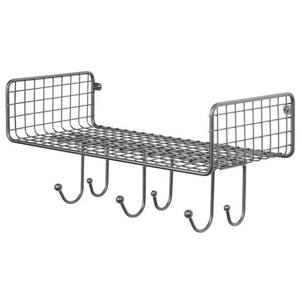 Large Farmhouse Metal Wire Wall Mount Storage Shelf with 6 Hooks