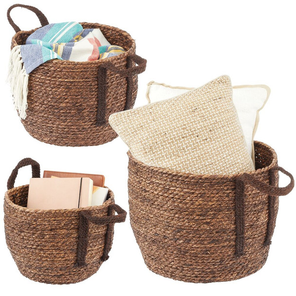 Natural Woven Seagrass Storage Round Baskets - Pack of 3