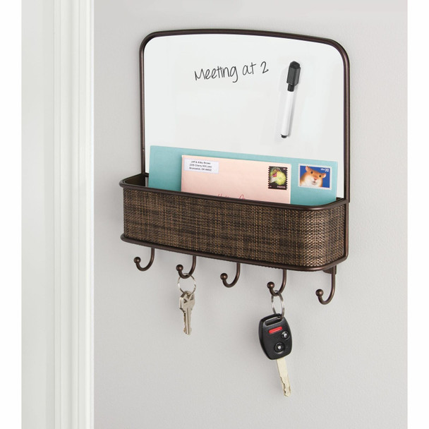 Wall Mount Entryway Mail Holder with Dry Erase Board in Bronze