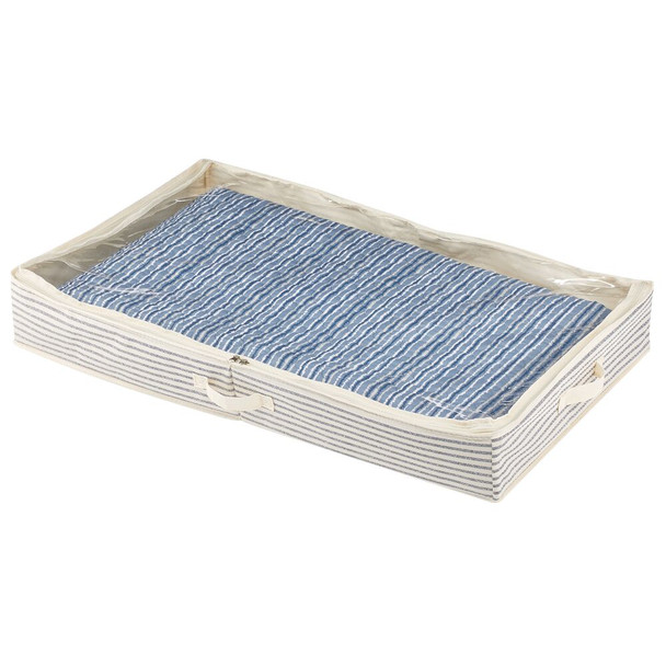 Fabric Under Bed Storage Organizer Bag, Zippered Lid