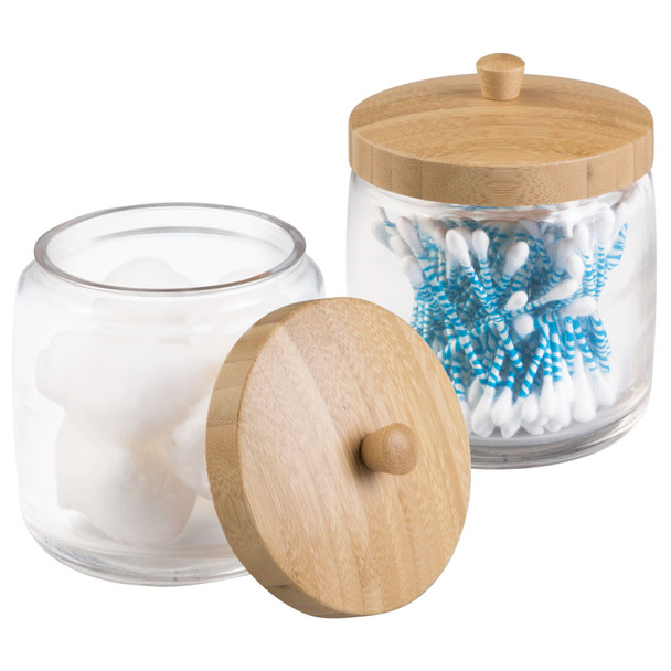 Glass + Bamboo Bathroom Vanity Storage Canister Jar