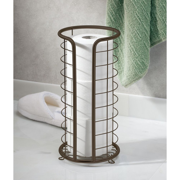 Metal Toilet Tissue Paper Roll Holder Stand