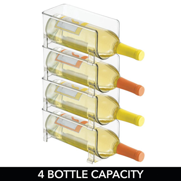 1-Bottle Plastic Wine Rack Storage Organizer Holder - Clear