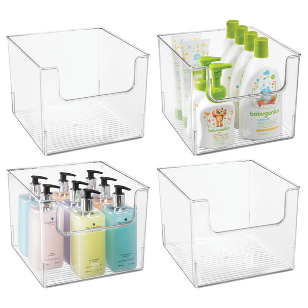 "Wide Plastic Bathroom Vanity Storage Bin with Dipped Front - 10"" x 10"" x 7.75"""
