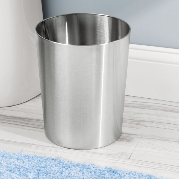 Small Modern Metal Round Trash Can / Garbage Bin