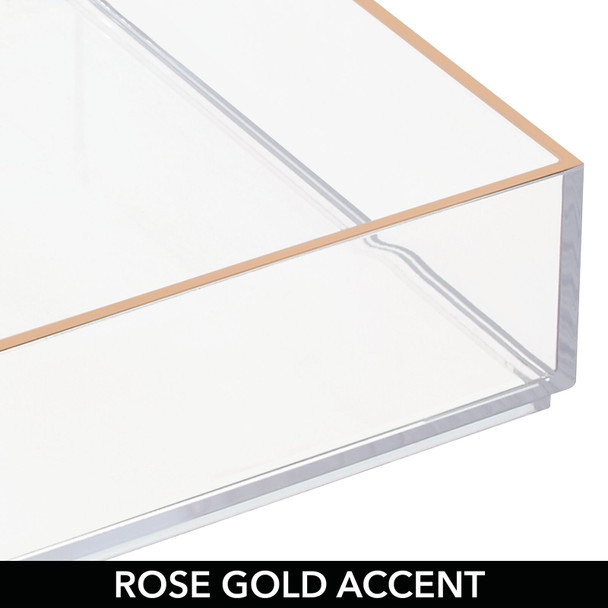 """Makeup Drawer Organizer  in Clear/Rose Gold - 12"""" x 4"""" x 2"""""""