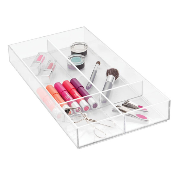 Plastic Cosmetic Drawer Organizer Tray, 4 Sections