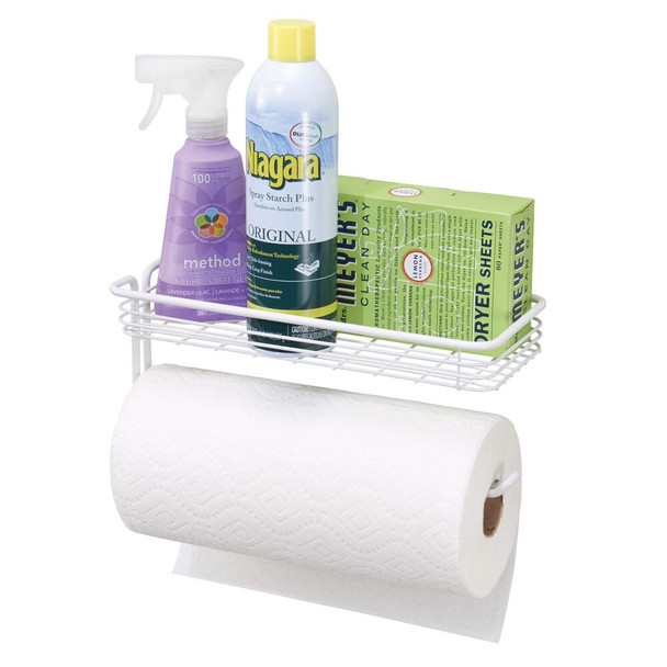 Wall Mount Paper Towel Holder Laundry Storage Shelf