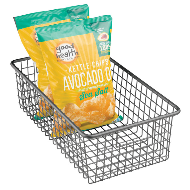 "Long Metal Wire Pantry Storage Basket - 16.25"" x 9.3"" x 5.25"""