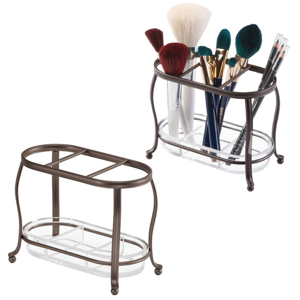 3 Section Makeup Brush Holder, Vanity Countertop Organizer