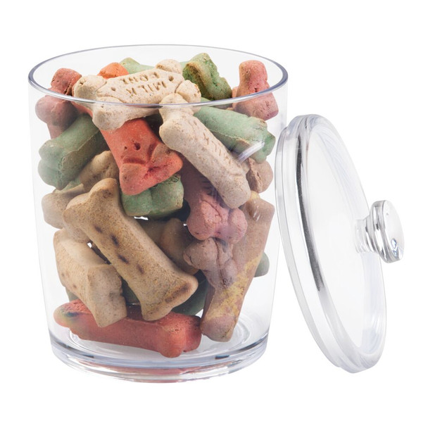 Round Plastic Pet Food / Treat Storage Canister - Clear