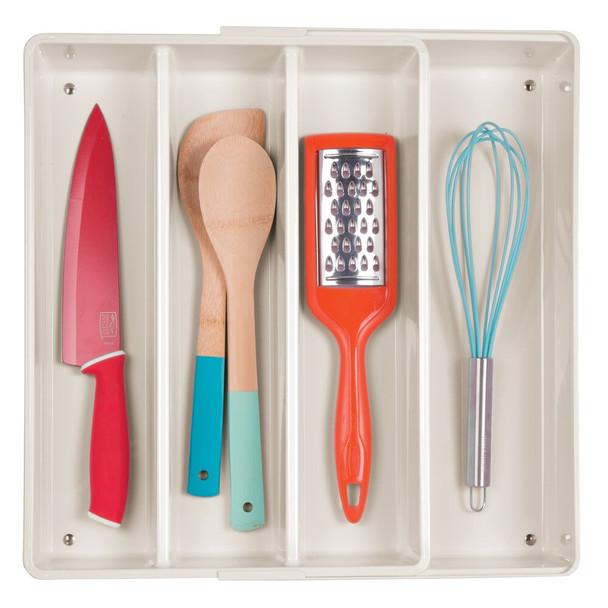 4 Compartment Expandable Plastic Kitchen Drawer Cutlery Tray