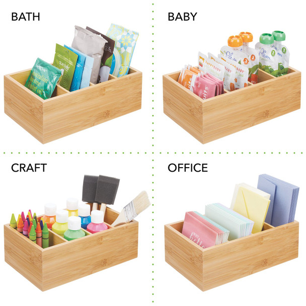 "Bamboo Kitchen Food Packet, Condiment Organizer Bin - 11"" x 6.25"" x 3.5"""