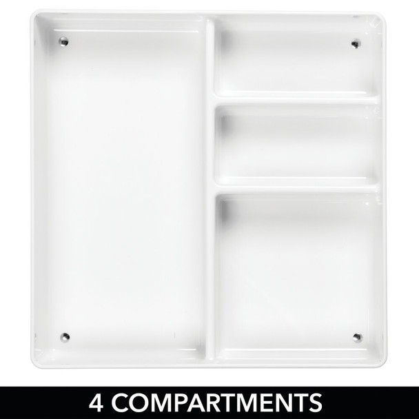 4 Section Square Plastic Home Office Drawer Organizer