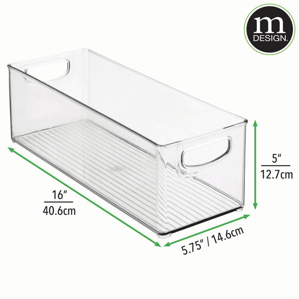 "Extra Long Plastic Kitchen Pantry Food Storage Bin - 16"" x 6"" x 5"""