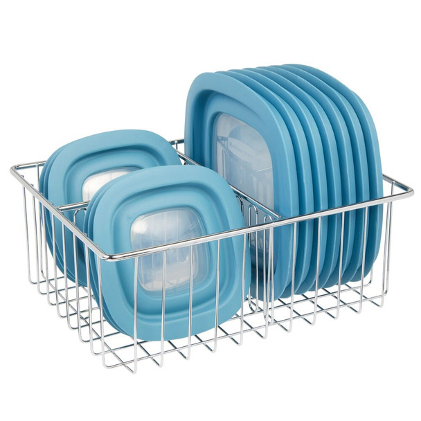 "Metal Wire Kitchen Food Container Lid Organizer Bin - 10.7"" x 8.1"" x 3.75"""