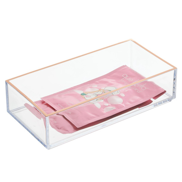 """Plastic Cosmetic Drawer Organizer Tray in Clear/Rose Gold - 4"""" x 8"""" x 2"""""""