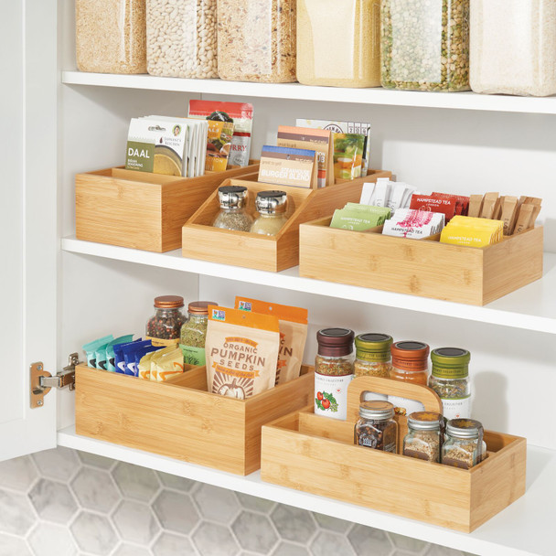 Bamboo Kitchen Pantry Food Organizer Bin, 3 Sections