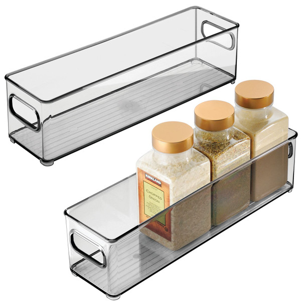 "Small Plastic Kitchen Pantry Food Storage Bin - 14.5"" x 4"" x 4"""