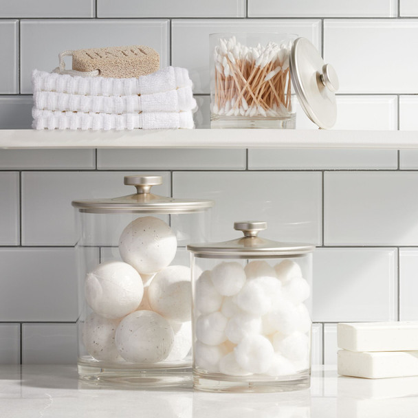 Large Plastic Round Bathroom Vanity Storage Canister Jar