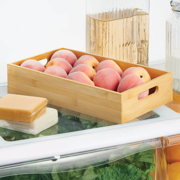 "Wide Bamboo Kitchen Drawer Organizer Storage Tray - 14.5"" x 8.6"" x 3"""