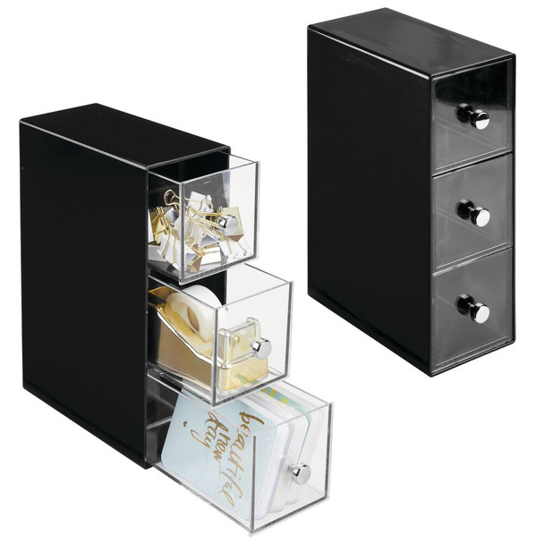 3 Drawer Plastic Office Desk Organizer Storage Caddy