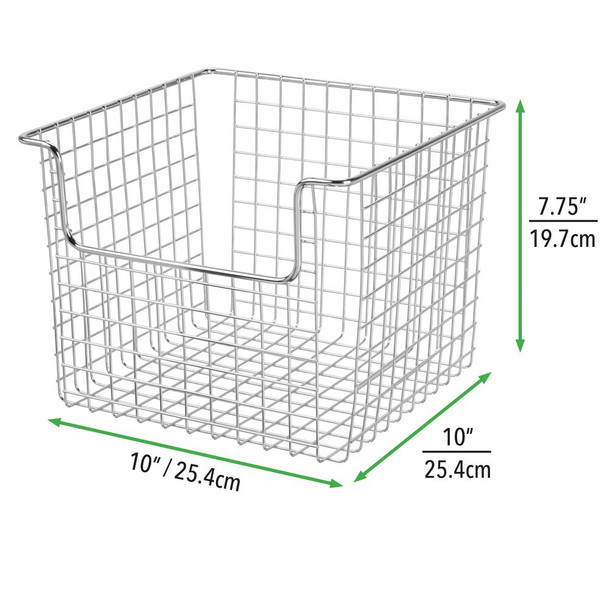 "Metal Wire Kitchen Pantry Food Storage Basket - 10"" x 10"" x 7.75"""