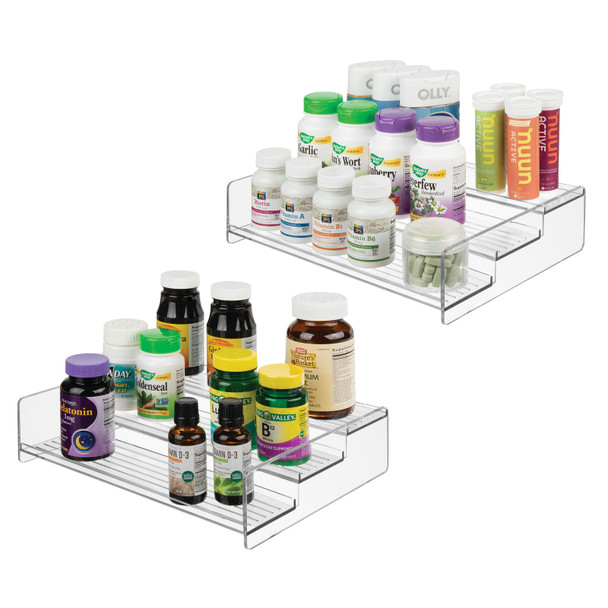3 Tier Vitamin Organizer Bathroom Countertop Storage - Clear