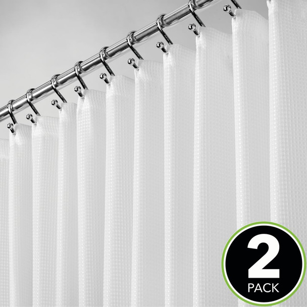 """X-WIDE Waffle Weave Fabric Shower Curtain, 108 x 72"""" - White"""