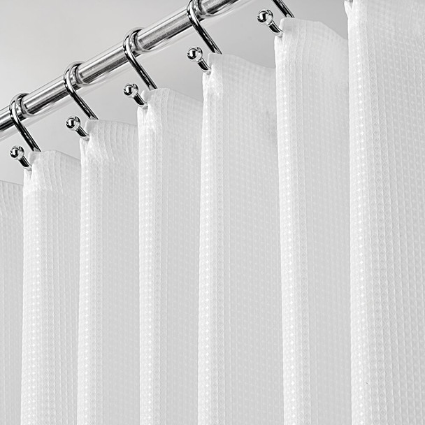 "X-WIDE Waffle Weave Fabric Shower Curtain, 108 x 72"" - White"
