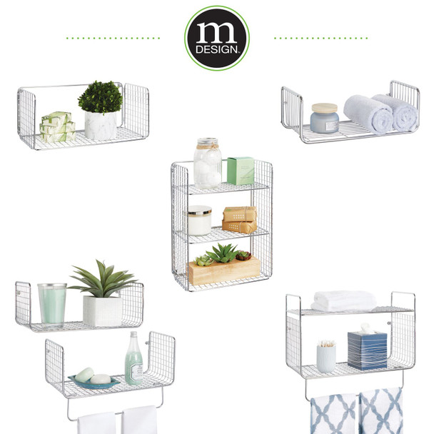 Metal Wire Wall Mount Bathroom Shelf and Towel Rack