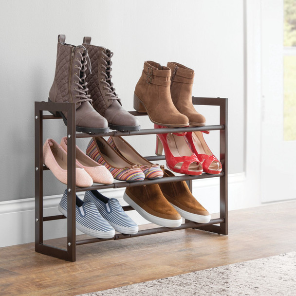 Expandable 3 Tier Shoe Rack Floor Stand Storage