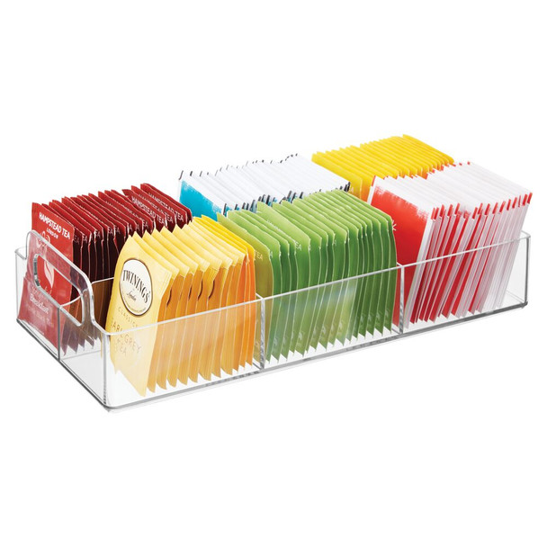 6 Compartment Tea Bag Holder and Condiment Organizer with Handles
