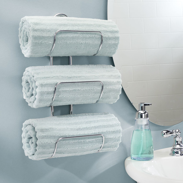 3-Tier Wall Mount Bathroom Towel Holder Storage Rack