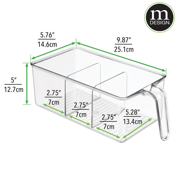 3 Section Plastic Kitchen Food Storage Bin with Handle - Clear