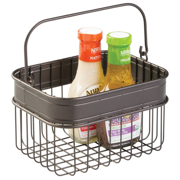 Small Metal Storage Basket with Woven Accent for Kitchen - Bronze